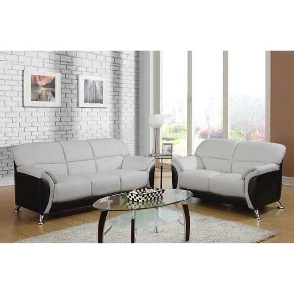 Light Grey and Black Two-tone PVC Modern Loveseat
