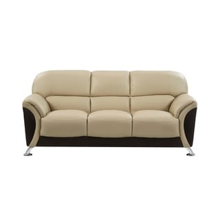 Cappuccino and Chocolate Two-tone PVC Modern Sofa