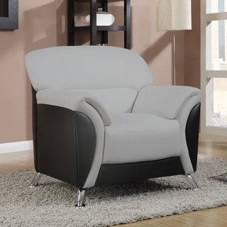 Light Grey and Black Two-tone PVC Modern Chair