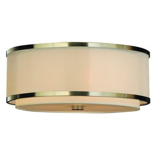 'Lux' Nickel Finish Double Banded Flushmount Pendant