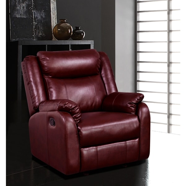 Burgundy Leatherette Gliding Recliner