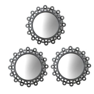 Elements Round Silver Cog Mirrors (Set of 3)