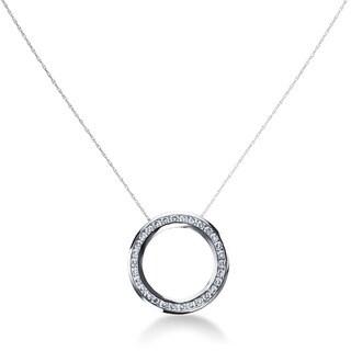 14k White Gold 1 1/4ct TDW Diamond Circle Necklace(G-H, SI1-SI2)