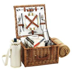 Picnic at Ascot Cheshire Basket for Two with Coffee Set/Blanket Wicker/Santa Cruz