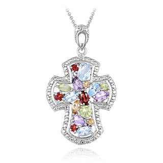 Glitzy Rocks Silvertone 3 1/5ct TGW Multi Gemstones Diamond Accent Cross Necklace