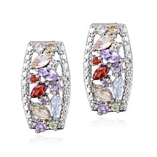 Glitzy Rocks Silvertone Multi Gemstone and Diamond Accent Earrings