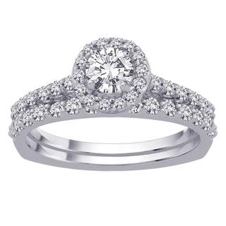 14k White Gold 1 1/4 TDW Diamond Halo Bridal Set (G-H, SI3)