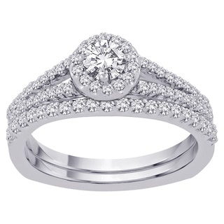 14k White Gold 1 1/3 TDW Round-cut Diamond Halo Bridal Set (G-H, SI3)