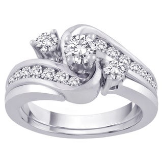 14k White Gold 1 TDW Round-cut Diamond Bypass Bridal Set (G-H, SI3)