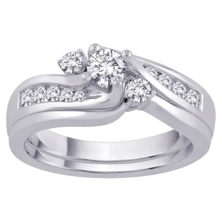 14k White Gold 1/2 TDW Diamond Bypass Bridal Set (G-H, I1/I2)