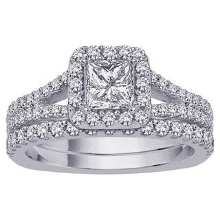 14k White Gold 2ct TDW Princess-cut Diamond Bridal Set (G-H, I1-I2)