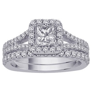 14k White Gold 2ct TDW Princess-cut Diamond Bridal Set (G-H, I1-I2)