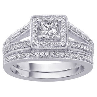 14k White Gold 1 1/2 TDW Princess-cut Diamond Bridal Set (G-H, SI3)