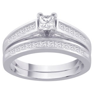 14k White Gold 2ct TDW Princess-cut Diamond Channel Bridal Set (G-H, I1-I2)