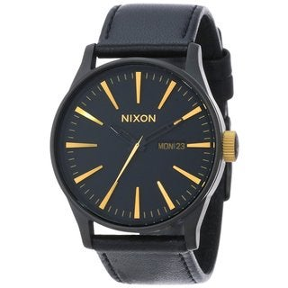 Nixon Men's Sentry Leather Matte Black/Gold Watch