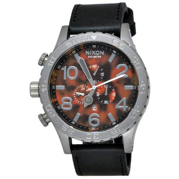 Nixon Men's 51-30 Chrono Leather Black/ Tortoise Watch