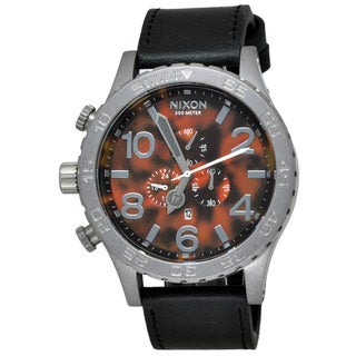 Nixon Men's 51-30 Chrono Leather Black/ Tortoise Watch