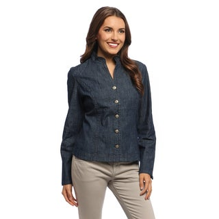 Women's Blue Steel High-low Hem Stand Collar Jacket