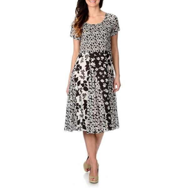 La Cera Women's Black and White Multi Floral Puckered Dress