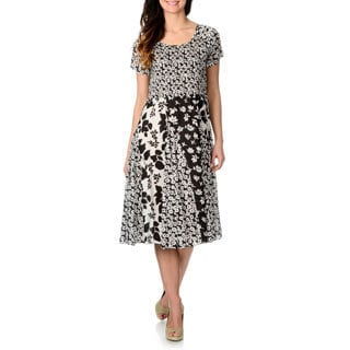 La Cera Women's Black and White Multi Floral Puckered Dress