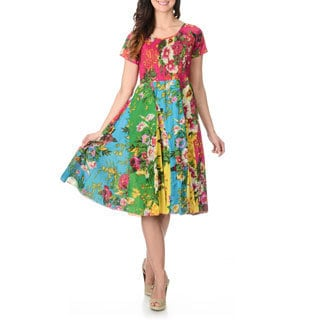 La Cera Women's Multi Floral Puckered Dress
