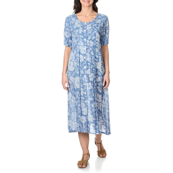 La Cera Women's Blue Floral Print Button-front Long Dress