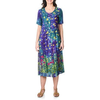 La Cera Women's Teal Floral Print Button-front Long Dress