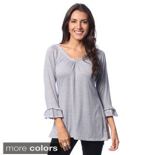 Women's Casual Tunic with Bonus Ruffle Cardigan