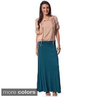 Women's Basic Maxi Skirt with Bonus Peasant Top