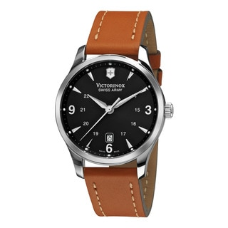 Swiss Army Men's 241475 'Alliance' Black Dial Tan Leather Strap Quartz Watch
