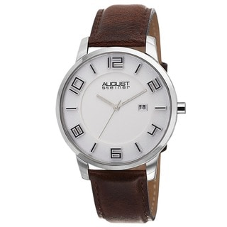 August Steiner Men's Ultra-Thin Swiss Quartz Leather Strap Watch