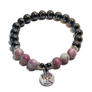 Hematite and Pink Tourmaline 'Tree of Life' Bracelet