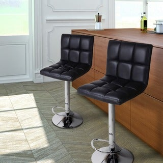 Adeco Black/Chrome Finish Adjustable Barstool Chair Set