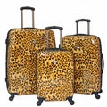 American Travel 3-piece Leopard Expandable Lightweight Hardside Spinner Luggage Set