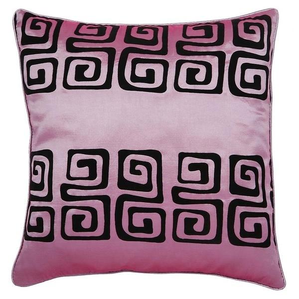 Handmade Pink/ Black Contemporary Swirl Cushion Cover