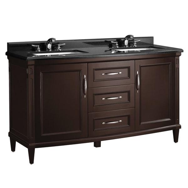 Ove decors rose 60 inch double bowl black granite top vanity for 60 double bowl bathroom vanity