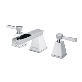 Ruvati Polished Chrome Waterfall Two Handle 8-15-inch Widespread Bathroom Faucet