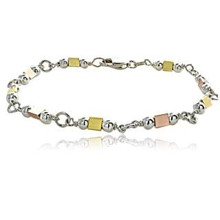Mondevio Sterling Silver Tri-color Shaped Link Bracelet
