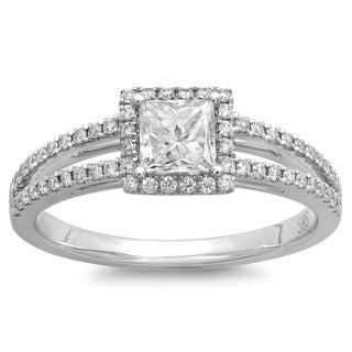 14k White Gold 3/4ct TDW Princess-cut Diamond Halo Engagement Ring (G-H, SI2-I1)