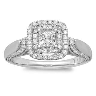 14k White Gold 4/5ct TDW Princess-cut Diamond Double Halo Engagement Ring (G-H, SI2-I1)