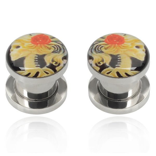 Misbehave Stainless Steel Floral Ear Gauge (Various Sizes)