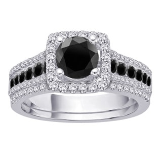 14K White Gold 1 3/4 TDW Black and White Diamond Bridal Set