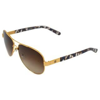 Tory Burch Women's 'TY 6010 361/13' Gold/ Blue Aviator Sunglasses