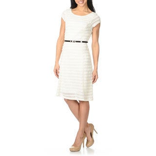 Sharagano Women's Ivory Chevron Textured Fit-and-flare Dress