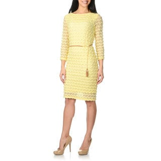 Sharagano Women's Yellow Chevron Textured 3/4-sleeve Dress