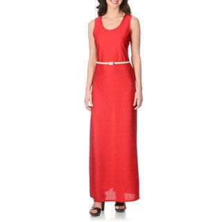 Sharagano Women's Pomegranate Texture-knit Maxi Dress