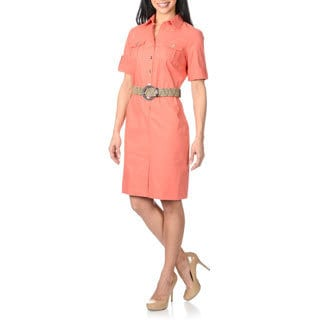 Sharagano Women's Coral Short Sleeve Belted Shirt Dress