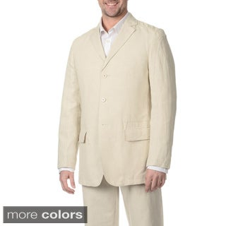 Numerio Men's Suit Separate 3-button Linen Blazer