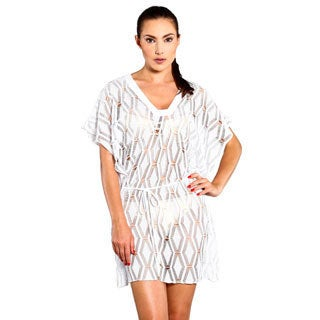 Jordan Taylor Women's White Diamond Tunic Swimsuit Cover-up