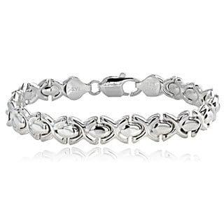 Mondevio Sterling Silver 'X' Link Bracelet